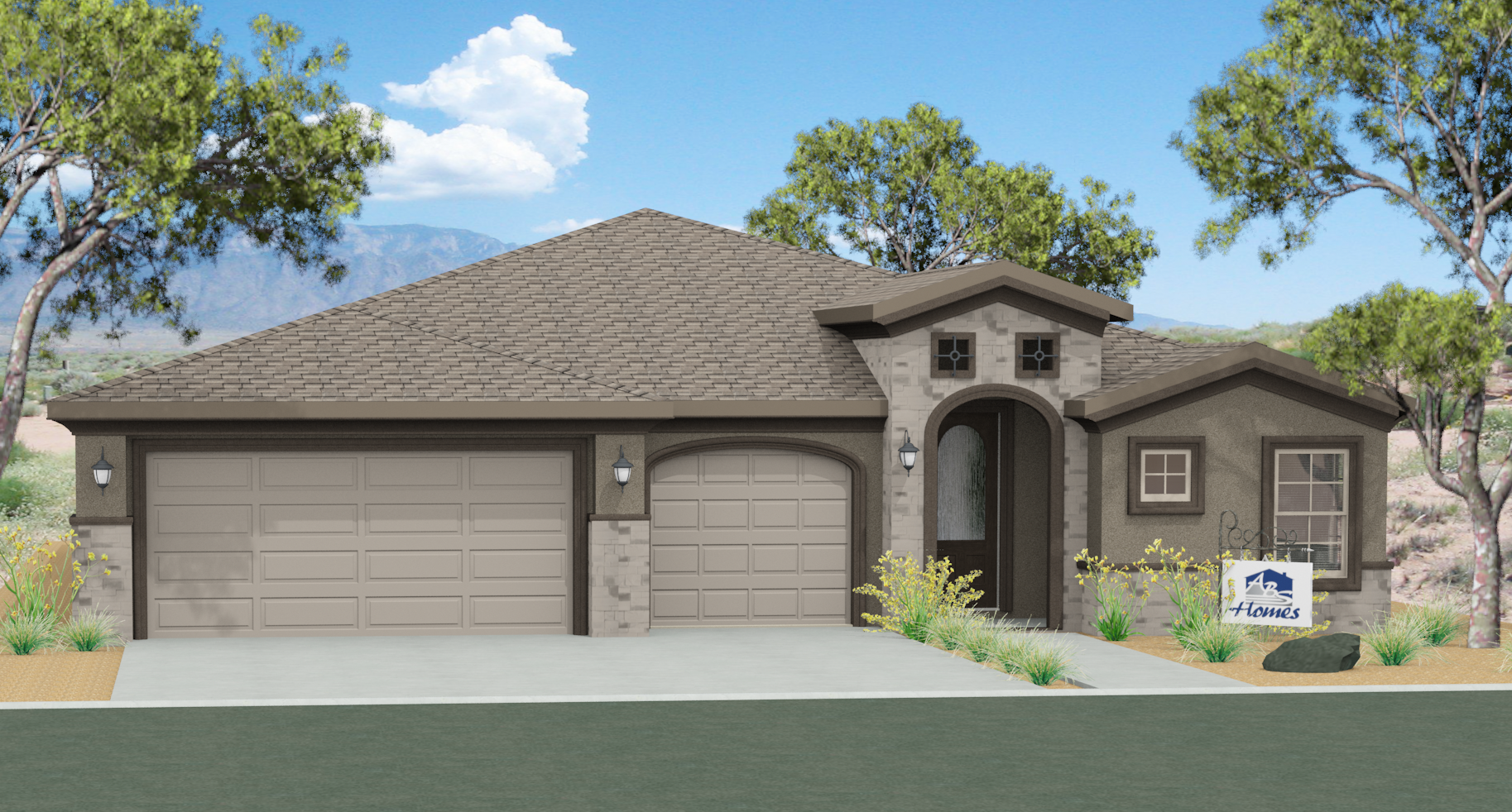 Tuscany 3 car garage hobbs home builder for Homes with 4 car garages