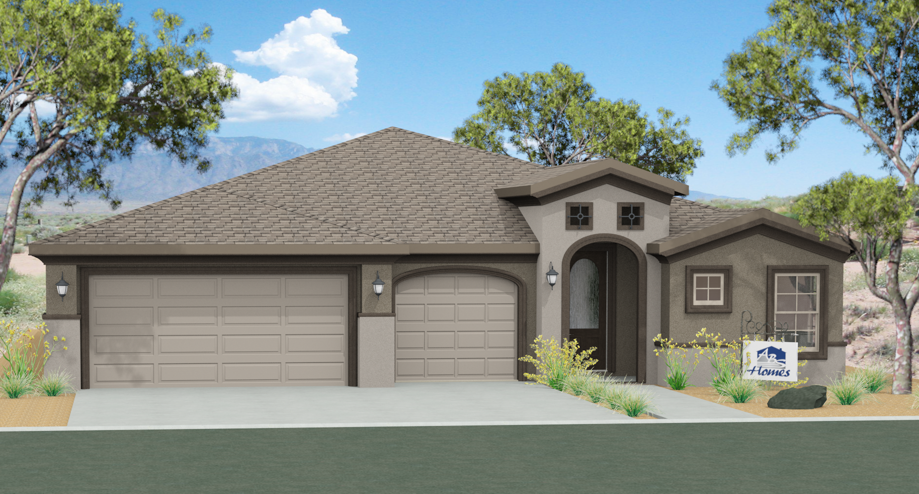 Tuscany 3 car garage hobbs home builder for Stucco garage
